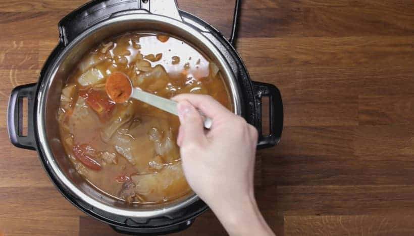 Instant Pot HK Borscht Soup: season and thicken borscht soup in Instant Pot