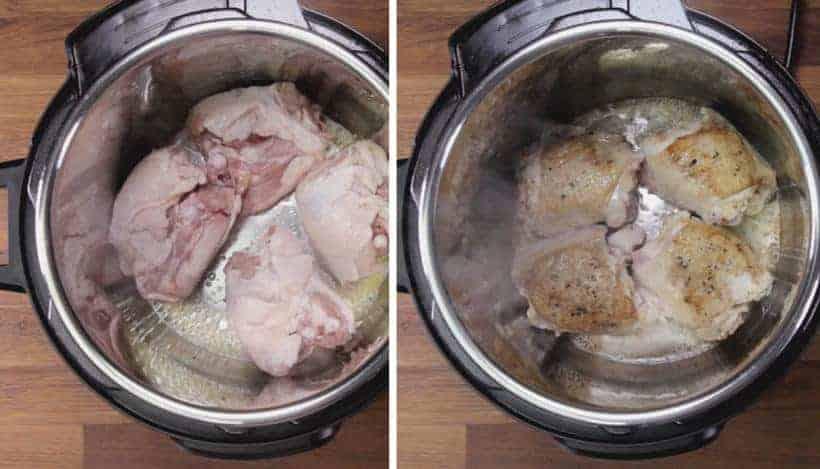 Instant Pot HK Onion Chicken: brown chicken in Instant Pot Pressure Cooker