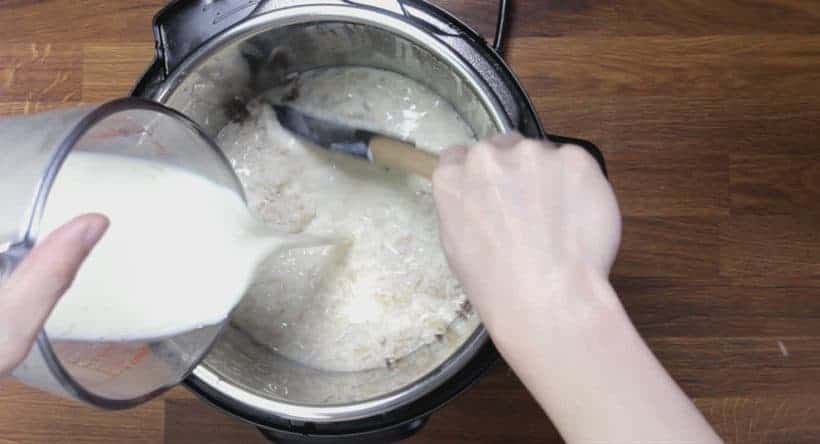 Instant Pot Rice Pudding: add milk mixture into pressure cooked rice