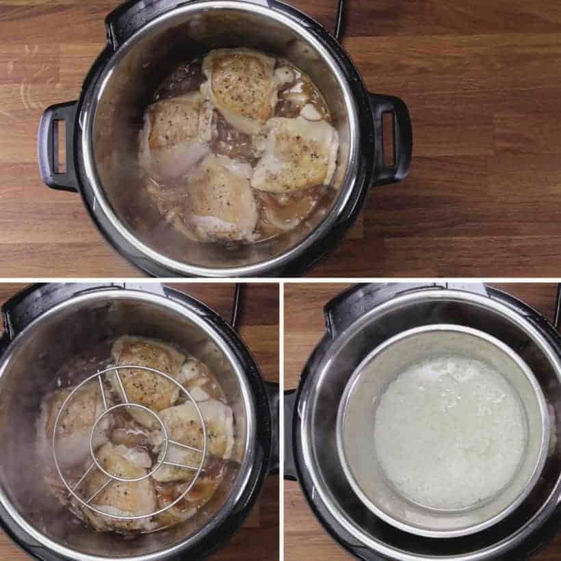 Instant Pot HK Onion Chicken: pressure cook pot-in-pot rice with chicken in Instant Pot Pressure Cooker