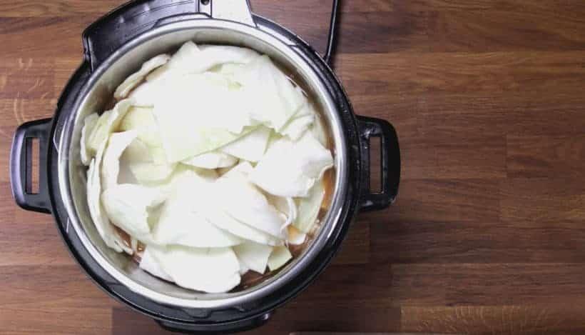 Instant Pot HK Borscht Soup: layer potatoes and cabbage on top, then pressure cook borscht soup with Instant Pot Pressure Cooker