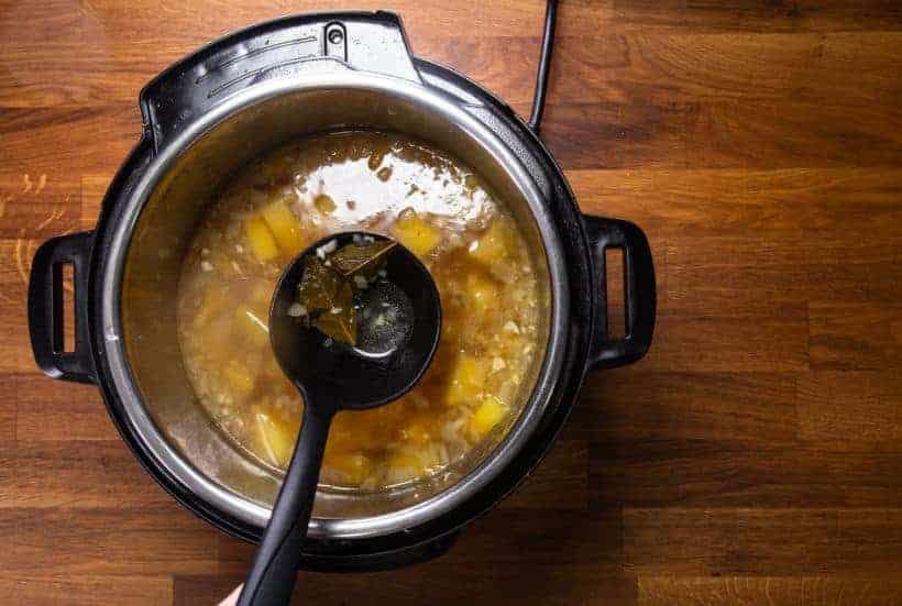 Instant Pot Potato Soup: blend potato soup in Instant Pot Pressure Cooker with immersion hand blender