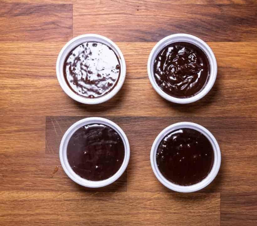Instant Pot Lava Cake | Instant Pot Chocolate Fondant | Instant Pot Molten Chocolate Cake: pour chocolate lava cake mixture into ramekins
