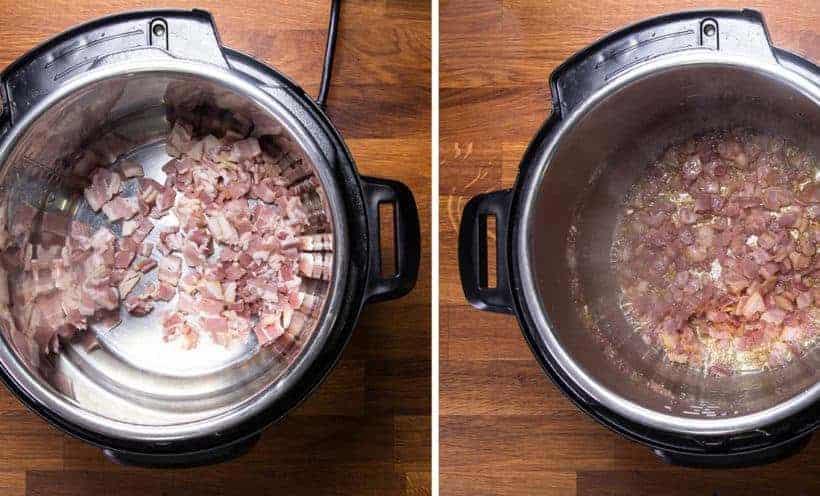 Instant Pot Potato Soup: crisp bacon in Instant Pot Pressure Cooker