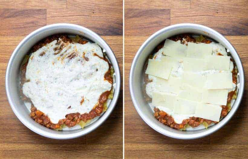 Instant Pot Lasagna: layer Ricotta cheese mixture on spaghetti sauce, then shredded mozzarella cheese in Instant Pot Pressure Cooker