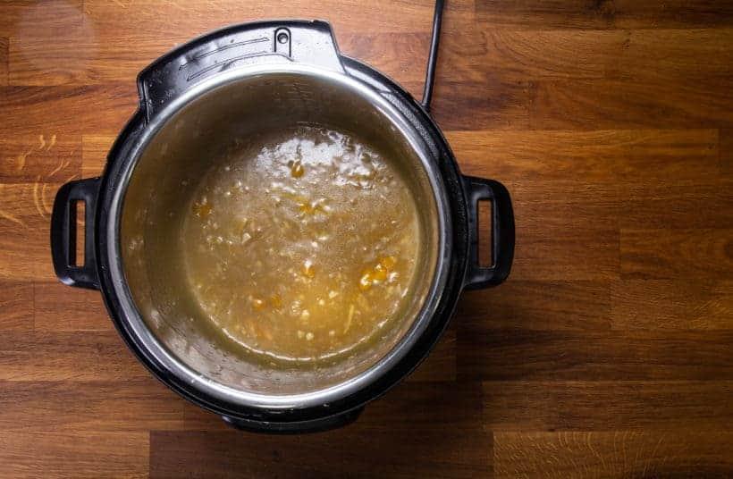 Pressure Cooker Orange Chicken: thicken and season orange chicken sauce in Instant Pot Pressure Cooker