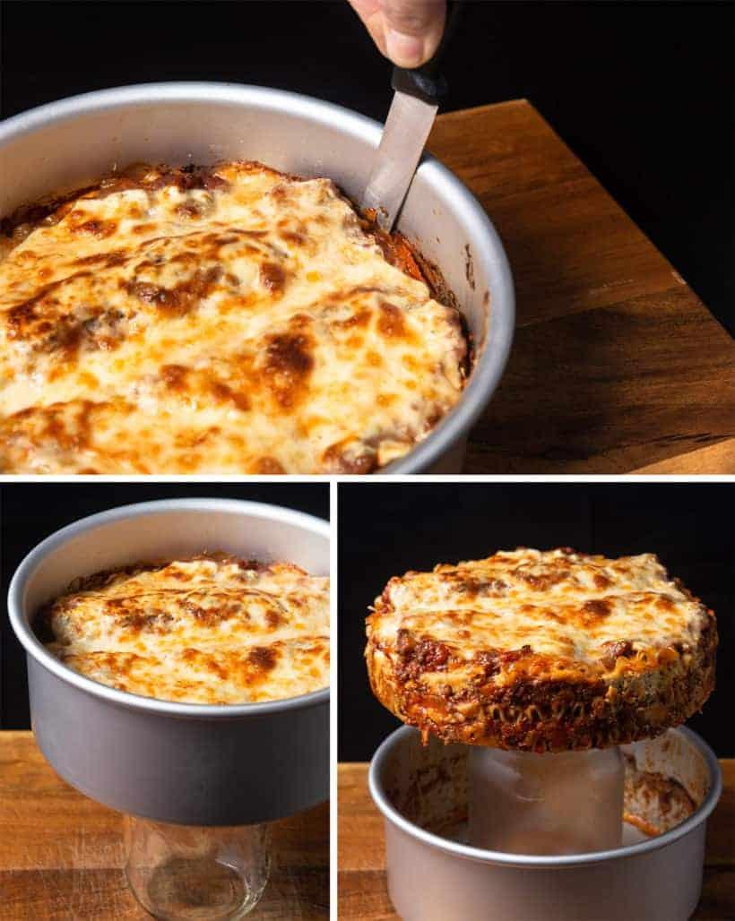 Instant Pot Lasagna Recipe (Pressure Cooker Lasagna): release lasagna from springform pan
