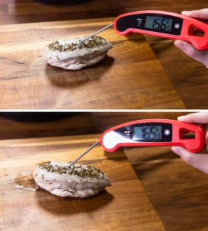 check chicken breasts internal temperature with food thermometer