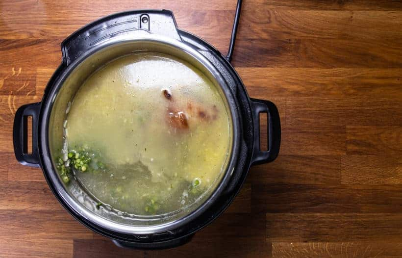 Instant Pot Split Pea Soup | Pressure Cooker Split Pea Soup: pressure cook split peas, ham bone, vegetables with chicken stock
