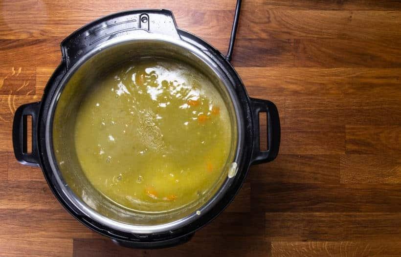 Instant Pot Split Pea Soup: season and thicken split pea soup in Instant Pot Pressure Cooker