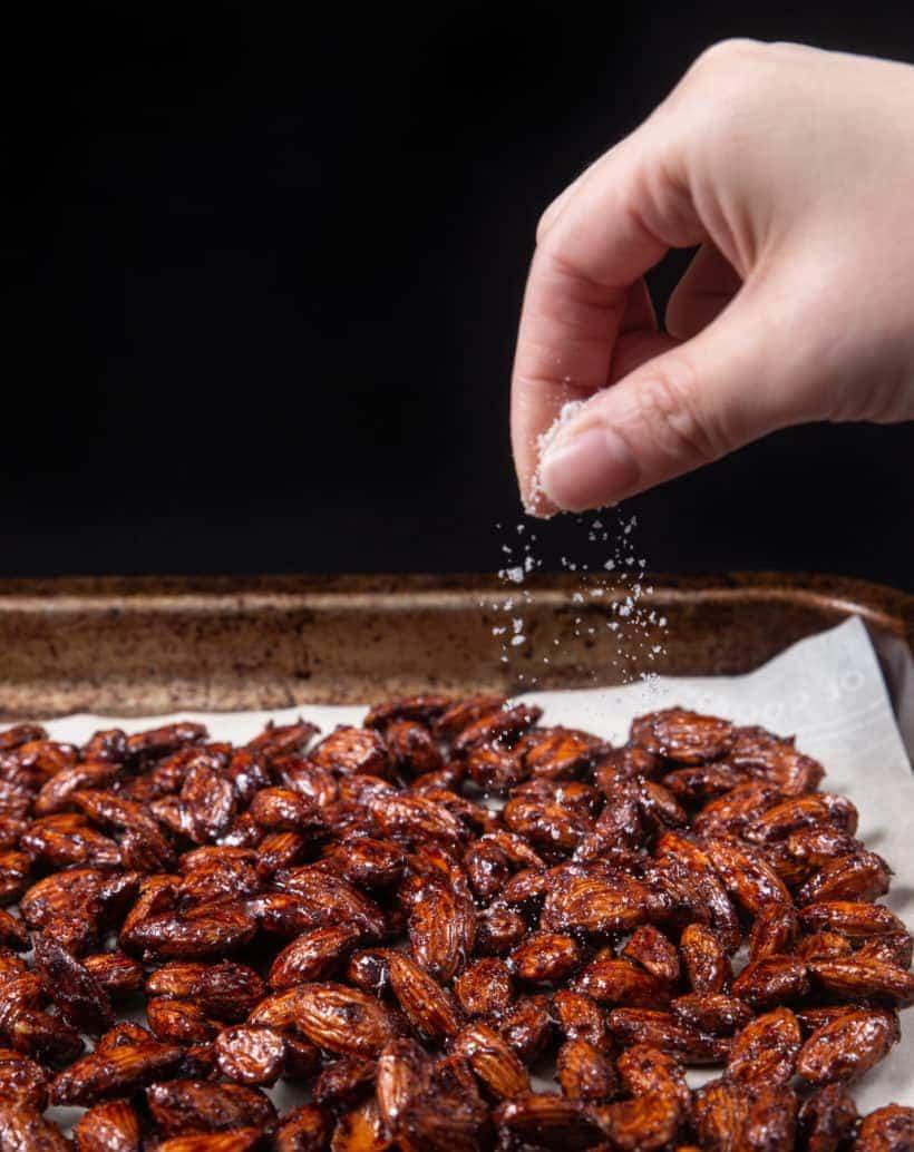 Instant Pot Churro Almonds | Cinnamon Candied Almonds | Caramelized Almonds Recipe: sprinkle extra sugar on churro almonds