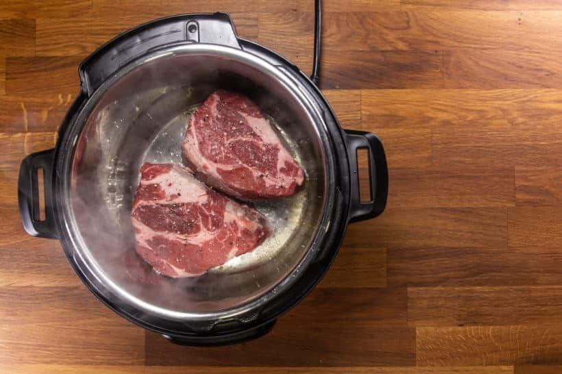 Instant Pot Italian Beef | Pressure Cooker Italian Beef: brown chuck roast in Instant Pot Pressure Cooker