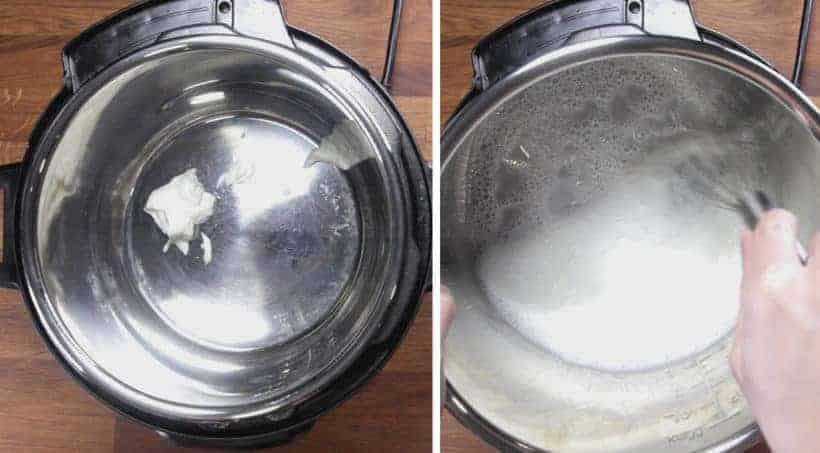 Instant Pot Yogurt (Instant Pot Cold Start Yogurt | Instant Pot No Boil Yogurt): add yogurt and fairlife ultrafiltered milk in Instant Pot Pressure Cooker