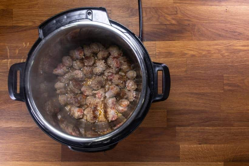 Instant Pot Zuppa Toscana Recipe | Pressure Cooker Zuppa Toscana Soup | Instant Pot Sausage Kale Potato Soup: brown Italian Sausages in Instant Pot Pressure Cooker