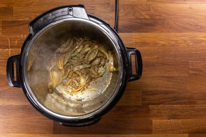 Instant Pot Italian Beef | Pressure Cooker Italian Beef: saute herbs in Instant Pot Pressure Cooker