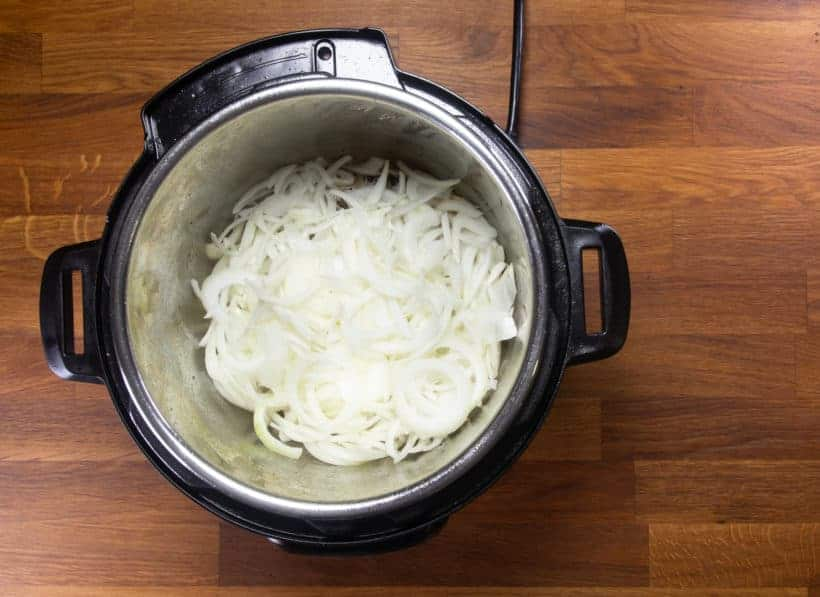 Instant Pot French Dip | Pressure Cook French Dip: saute sliced onions in Instant Pot Pressure Cooker