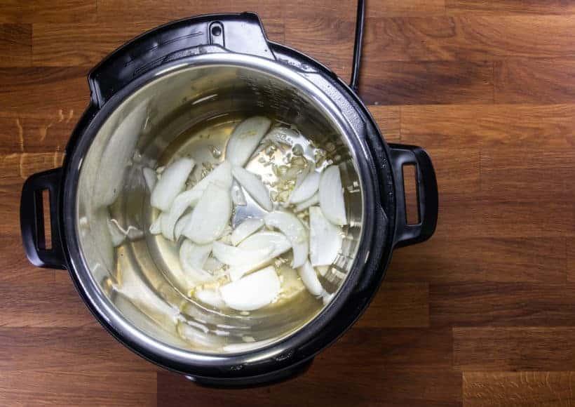 Instant Pot Brisket | Pressure Cooker Beef Brisket: add aromatics and flavorings in Instant Pot Pressure Cooker