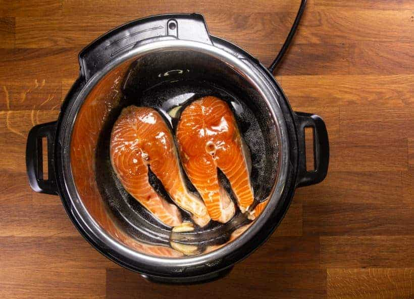 Instant Pot Teriyaki Salmon (Instant Pot Fish): add teriyaki sauce on salmon steaks in Instant Pot Pressure Cooker