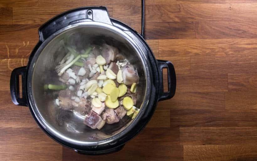Instant Pot Chinese Lamb Stew | Pressure Cooker Lamb Stew: saute garlic, ginger, shallot, green onions in Instant Pot Pressure Cooker