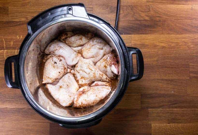 Instant Pot Chicken Tacos | Pressure Cooker Chicken Tacos: marinate chicken thighs in Instant Pot Pressure Cooker