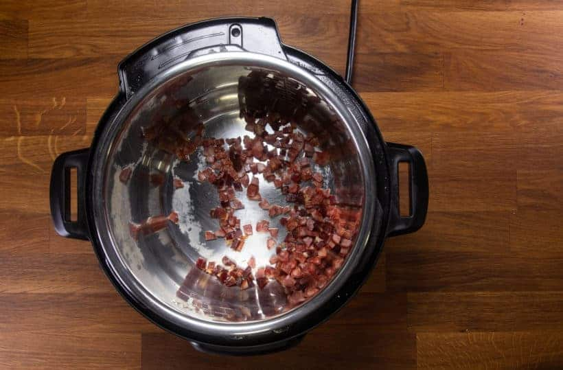 Instant Pot Turnip Cake: saute chopped Chinese sausage 臘腸 and Chinese cured meat 臘肉 in Instant Pot Pressure Cooker