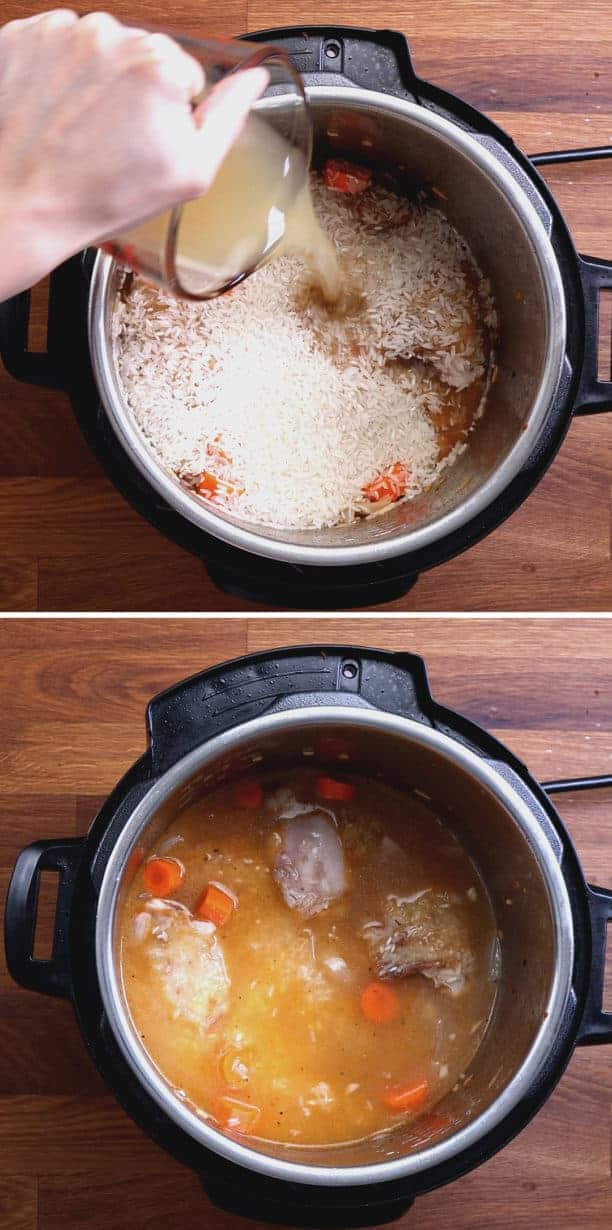 Instant Pot Chicken and Rice Recipe: add chicken stock and jasmine rice in Instant Pot Pressure Cooker  #AmyJacky #InstantPot #PressureCooker #recipe #chicken #rice