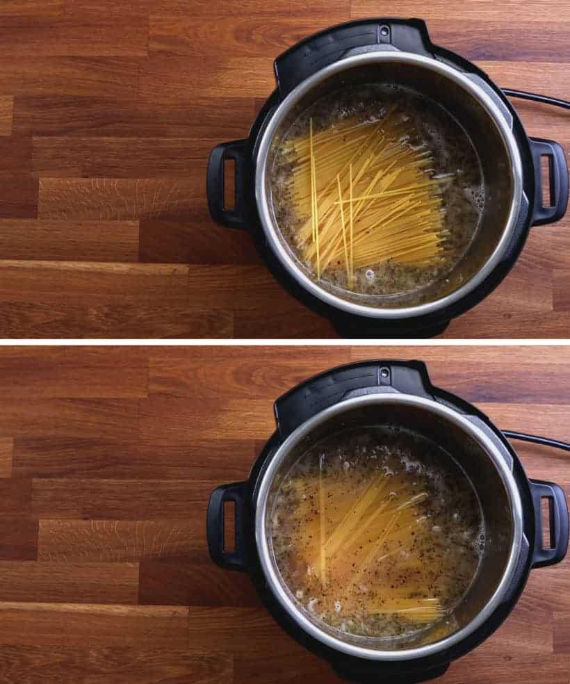 Instant Pot Spaghetti: add spaghetti in Instant Pot. Ensure all spaghetti are soaked into the liquid #AmyJacky #InstantPot #PressureCooker #recipe #easy