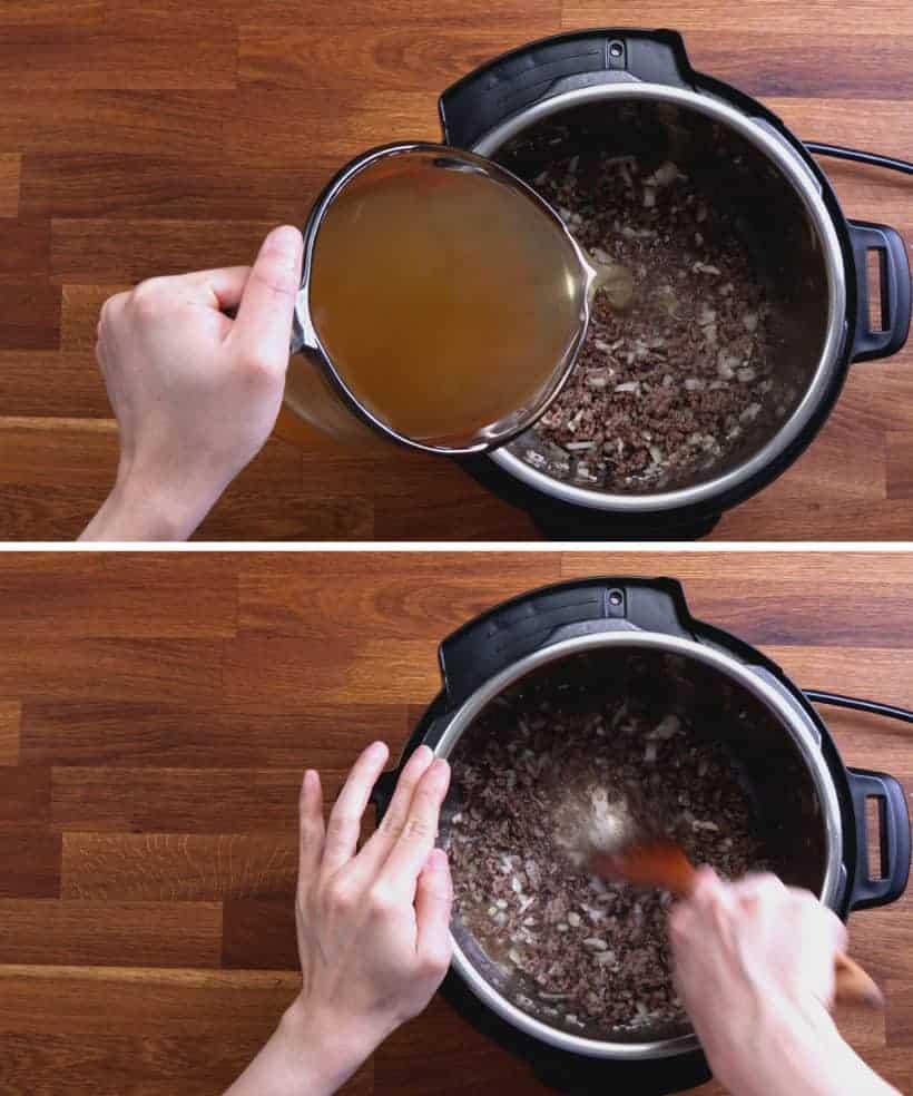 One Pot Spaghetti: deglaze Instant Pot with unsalted chicken stock #AmyJacky #InstantPot #PressureCooker #recipe #easy