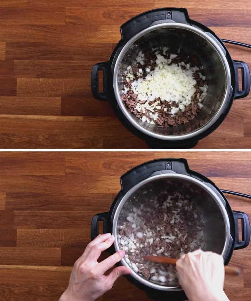 Instant Pot Spaghetti Recipe: sauce diced onions, minced garlic, basil, oregano in Instant Pot Pressure Cooker  #AmyJacky #InstantPot #PressureCooker #recipe #easy