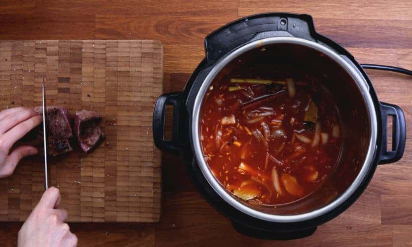 Instant Pot Vietnamese Beef Stew Recipe: slice browned chuck roast steaks into 1.5 inches thick cubes #AmyJacky #InstantPot #PressureCooker #stew #recipes