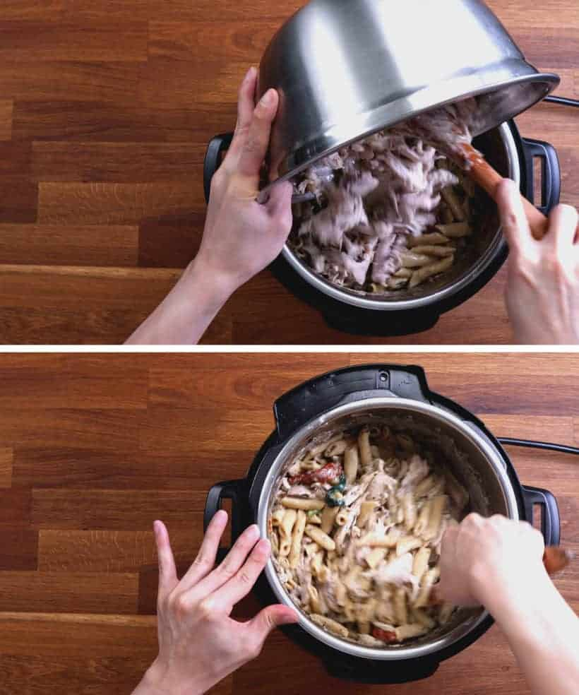 How to cook Instant Pot Tuscan Chicken Pasta: add shredded chicken thighs in Instant Pot  #AmyJacky #InstantPot #PressureCooker #recipes #pasta #chicken