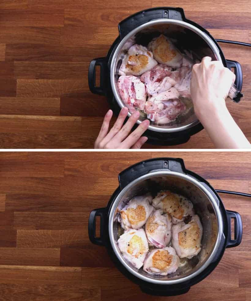 Instant Pot Chicken Thighs Recipes: brown and season chicken thighs in Instant Pot Pressure Cooker  #AmyJacky #InstantPot #PressureCooker #recipes #easy #chicken