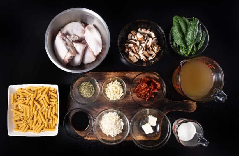 Instant Pot Tuscan Chicken Pasta | Pressure Cooker Tuscan Chicken Pasta Recipe Ingredients #AmyJacky #InstantPot #PressureCooker #recipes #easy #chicken