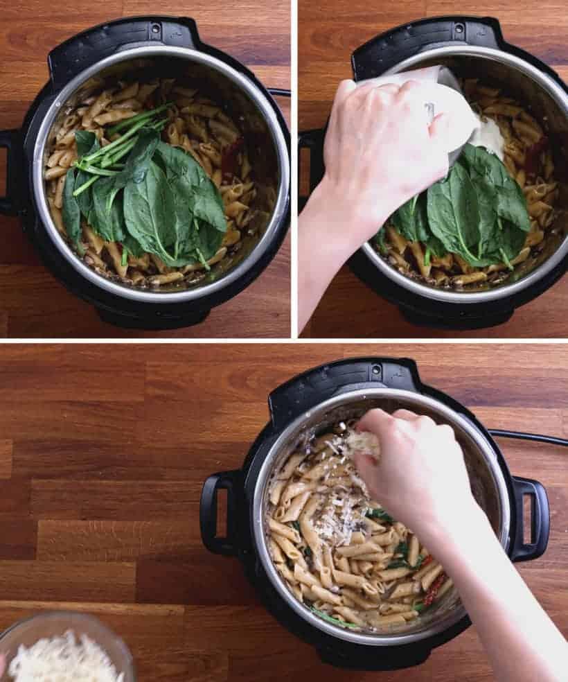 Instant Pot Tuscan Chicken Pasta | Pressure Cooker Tuscan Chicken Pasta: add spinach, sun-dried tomatoes, heavy cream, parmesan cheese in Instant Pot  #AmyJacky #InstantPot #PressureCooker #recipes #italian #chicken