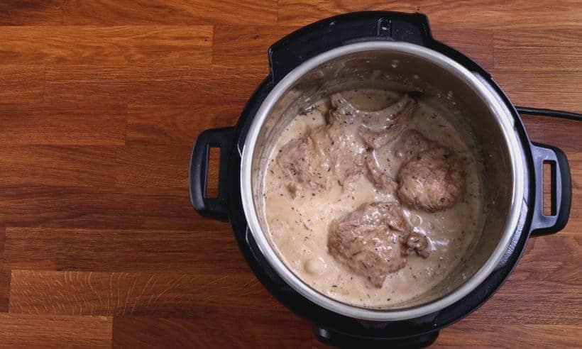 Easy Pork Chops Instant Pot: season pork chops with mushroom sauce  #AmyJacky #InstantPot #PressureCooker #recipes #easy #pork