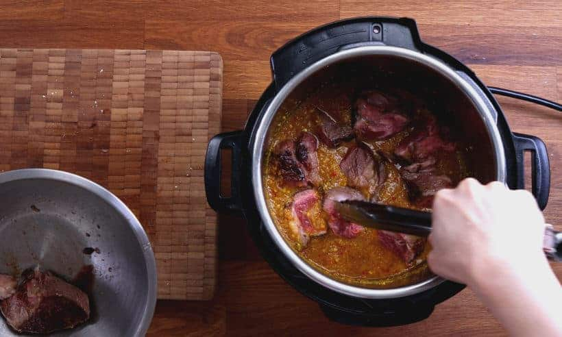 Instant Pot Indonesian Beef Curry: add browned chuck roast and sauces in Instant Pot Pressure Cooker #AmyJacky #InstantPot #PressureCooker #recipe #beef