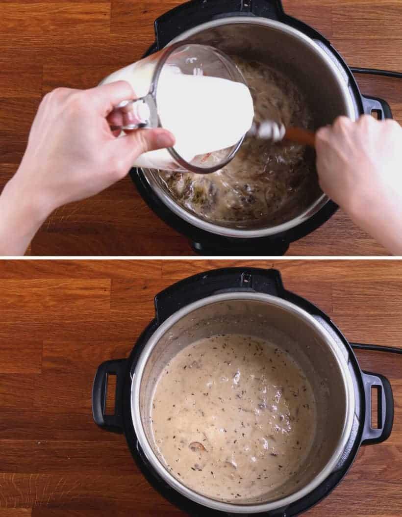 instant pot pork chops with mushroom sauce: make creamy mushroom sauce  #AmyJacky #InstantPot #PressureCooker #recipes #easy #pork