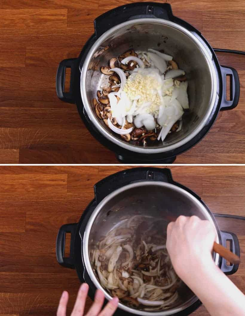 instant pot easy pork chops: saute onion and garlic in Instant Pot  #AmyJacky #InstantPot #PressureCooker #recipes #easy
