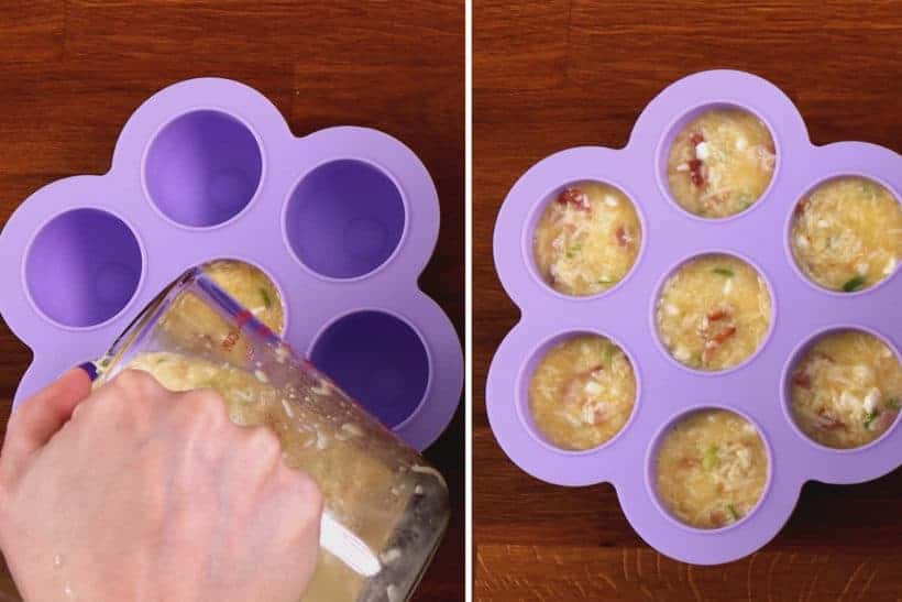 Instant Pot Egg Bites Silicone: pour egg bites mixture in silicone egg bites mold #AmyJacky #InstantPot #PressureCooker #recipe #breakfast