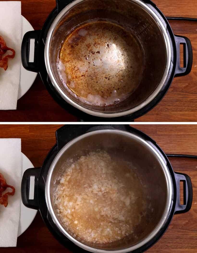 pressure cooker lentil soup: saute onions in Instant Pot Pressure Cooker  #AmyJacky #InstantPot #PressureCooker #recipe #soup #beans