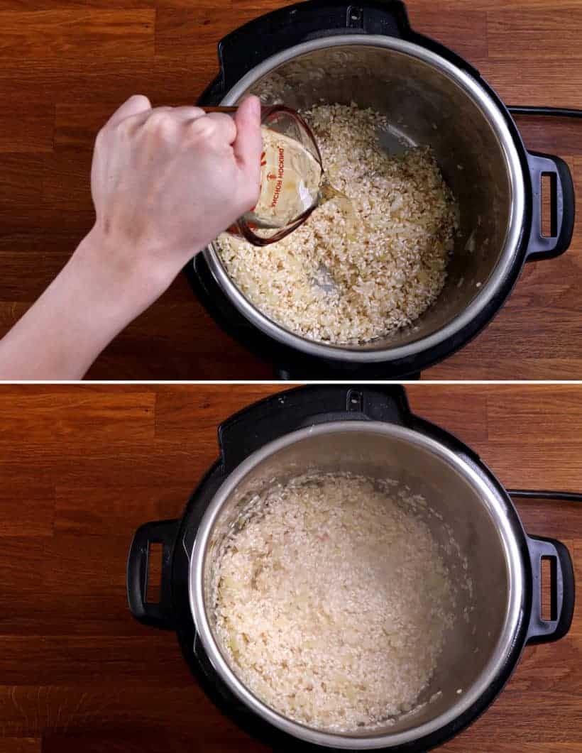 Instant Pot Arborio Rice: add dry white wine Pinot Grigio in arborio rice in Instant Pot  #AmyJacky #InstantPot #PressureCooker #rice #sides #vegetarian