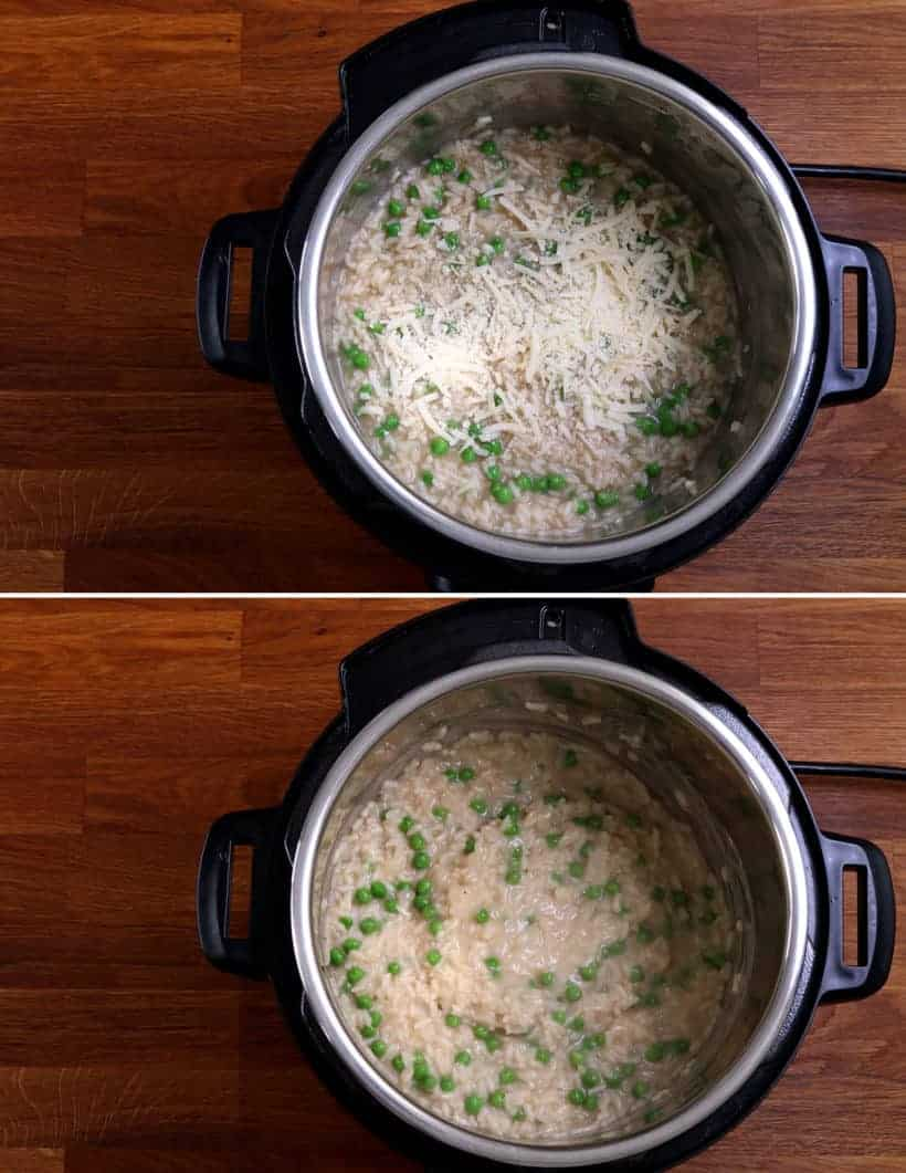 Instant Pot Parmesan Risotto: add freshly grated parmesan cheese to risotto in Instant Pot  #AmyJacky #InstantPot #PressureCooker #recipe #rice #sides #vegetarian