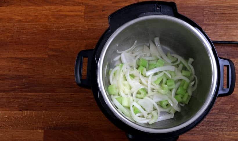 Saute celery in Instant Pot #AmyJacky #InstantPot #PressureCooker #recipe #soup #vegetarian #healthy