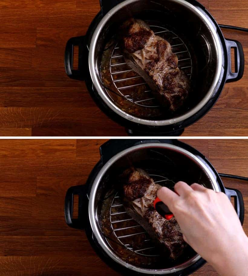 Pressure cooked beef roast in Instant Pot - check temperature with meat thermometer    #AmyJacky #InstantPot #PressureCooker #beef #recipe #christmas #thanksgiving