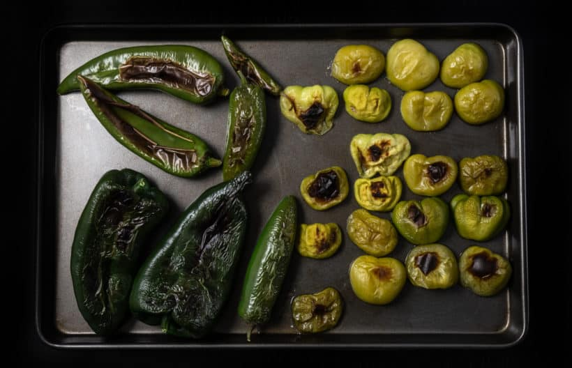 Roasted tomatillos, jalapeno, poblano peppers, serrano peppers, anaheim peppers  #AmyJacky #InstantPot #PressureCooker #recipe #mexican