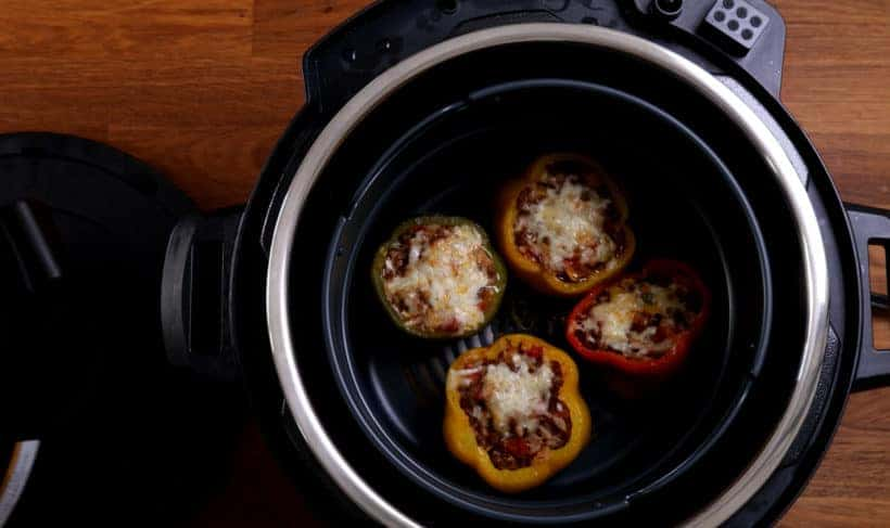Air Fryer Stuffed Peppers #AmyJacky #InstantPot #AirFryer #PressureCooker #recipe #beef #GroundBeef #rice