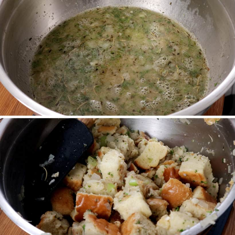 combine all stuffing ingredients together in mixing bowl #AmyJacky #InstantPot #PressureCooker #sides #christmas #thanksgiving #recipes