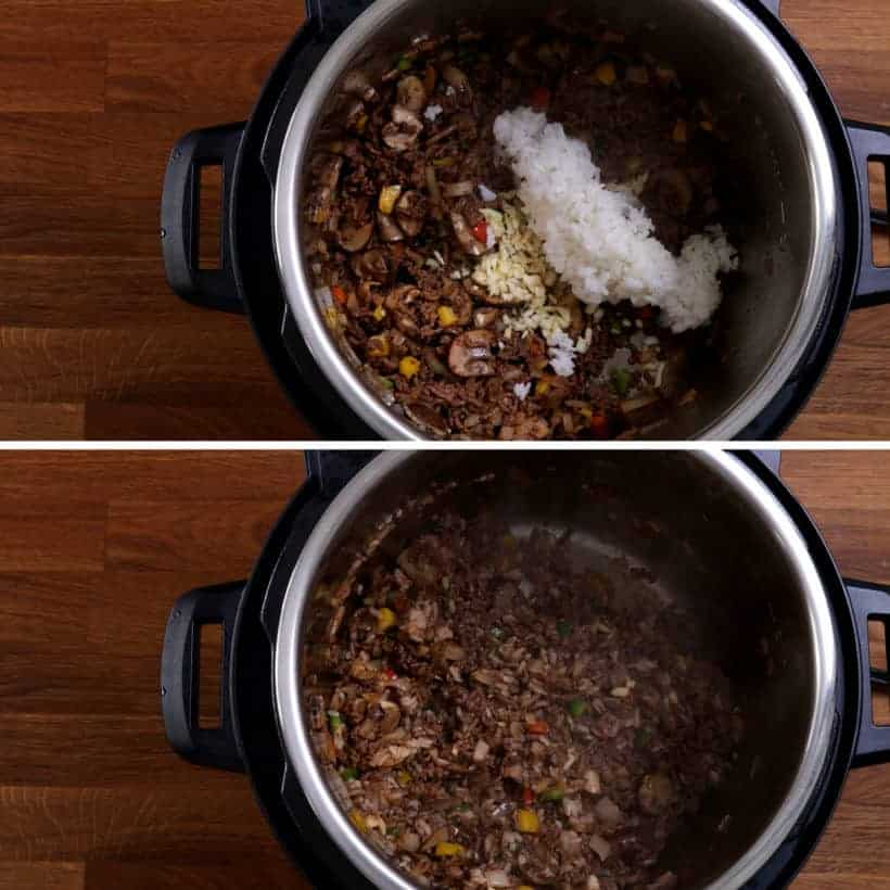 Add cooked rice to ground beef stuffings in Instant Pot Pressure Cooker #AmyJacky #InstantPot #PressureCooker #recipe #beef #rice