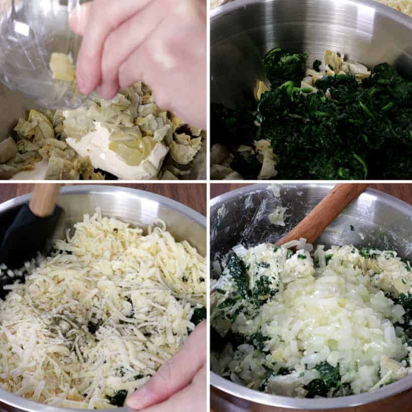 Mix spinach artichoke dip ingredients together in mixing bowl  #AmyJacky #InstantPot #PressureCooker #recipe