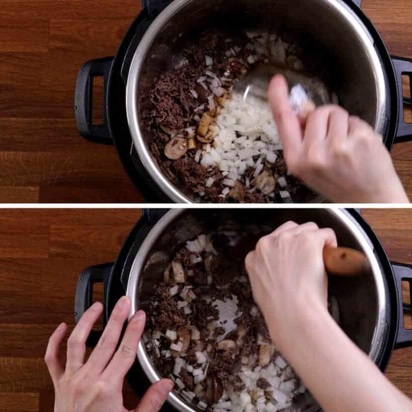 saute minced onions in Instant Pot Pressure Cooker  #AmyJacky #InstantPot #PressureCooker #beef #recipe